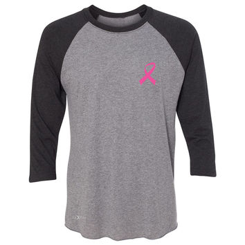Zexpa Apparel™ Pink Ribbon On My Heart 3/4 Sleevee Raglan Tee Breast Cancer Awareness Tee