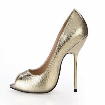 hot big size 35-43 women sexy open toe high heels shoes fashion matel stiletto heeled ladies 2018 sequins fashion peep toe pumps
