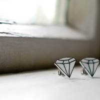 Plastic diamond earrings - Fun hand painted plastic earrings with surgical stainless steel posts. Geometric black and white.