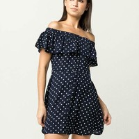 EN CREME Off The Shoulder Womens Polka Dot Dress