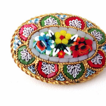 Italian Oval Micro Mosaic Brooch - flowers - stone set - daisy - roses - grand tour - italy - brass glass - 1930s - micromosaic - bouquet