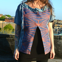 Geometric Spring Blouse - Women's Spring Blouse - Summer Blouse Jacket - OOAK