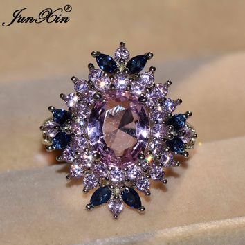 JUNXIN Luxury Male Female Pink Blue AAA Zircon Stone Ring Fashion Gold Filled Jewelry Vintage Wedding Rings For Men And Women