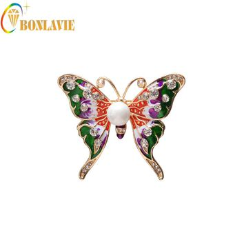 1 Piece New Arrival Vintage Gold Color Broach Pins Simulated Pearl Colorful Rhinestone Butterfly Brooch For Women Hijab Pins