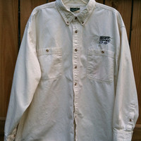 Vintage 100% cotton, 2XL button down shirt for the Heart of Iowa Co-op.