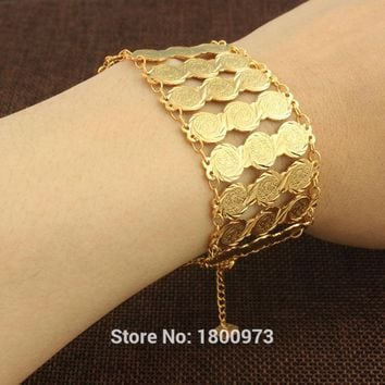 Wide Coin Bracelet for Women Men  Gold Color Muslim Coins Bracelet  African/ Arab/Middle East Jewelry