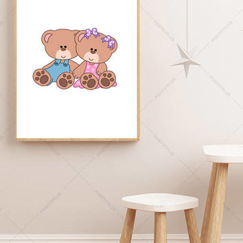 Teddy bear poster - Printable Poster - Nursery Decor - Nursery Print - Nursery Poster - Girls Room Print - Boys Room Print - Wall Art