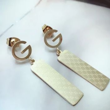 Gucci Letter Textured Long Peg Earrings Stud Earrings Simple Accessories