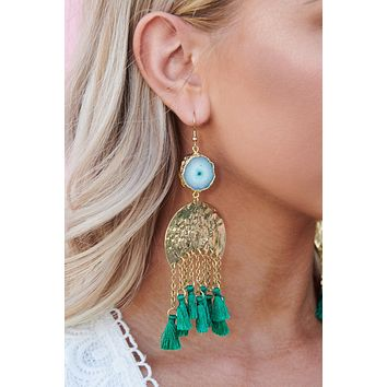 Sauce It Up Drop Earrings (Green)