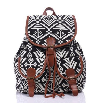 Ethnic Aztec Geometry Style Backpack Canvas Travel Bag School Bookbag Gift
