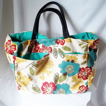 Large Beach Bag  Flower print beach bag  Summer Tote by ACAmour