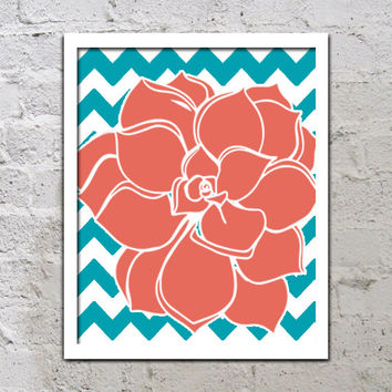 Turquoise Coral Flower Chevron Wall Art Turquoise Teal Artwork Colorful Dahlia Baby Decor NURSERY Print Bedroom Bathroom Choose Any Color