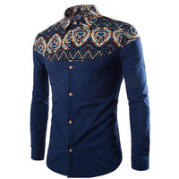 2016 Casual Men Shirt Autumn Men Floral Printing Long Sleeve Shirts Men Clothes Flowers Printed Shirts