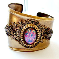 Oxidized Brass Cuff Bracelet by VartJewelry on Etsy