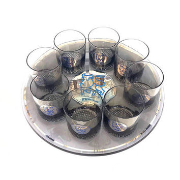 Vintage 1970s Barware Set Large Glass Tray and 8 Cocktail Glasses Merrill Lynch President's Club 1976 Fifth Anniversary Bull Logo