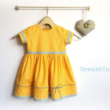 Cotton baby girl's summer costume Yellow polka dot and baby blue dress with bloomers Age 6 month - 1 year Organic cotton cloth