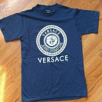 DCCKU7Q MENS VINTAGE VERSACE T-SHIRT WHITE/ BLUE MEDUSA HEAD SIZE L AUTHENTIC