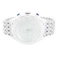 Mens White Gold Finish Simulated Diamond Iced Tray Cluster