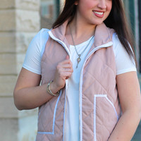 Quilted Vest {Blush}