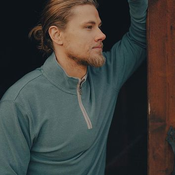 Puremeso Quarter Zip Pullover in Teal by The Normal Brand