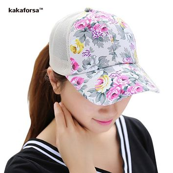 Kakaforsa Women Flower Printing Cotton Baseball Caps Summer Style Hip Hop Snapback Hats High Quality Casual Floral Mesh Sun Hat