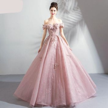 Prom Dresses Social Pink Lace Floral Crystal Off Shoulder Ball Gown Evening Gowns