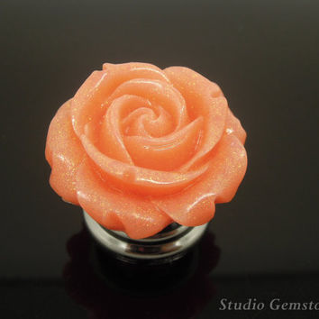1PC Jewelry Quality Bling Rein Orange Rose Flower Drawer Pulls Knobs Finial-30mm, Gemstone Furniture Accessary