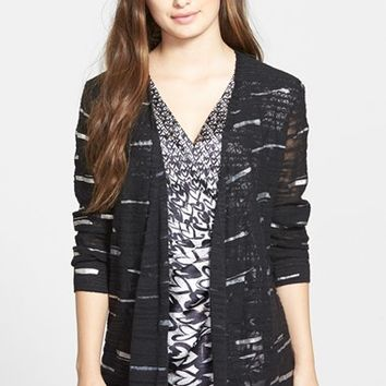 Women's NIC+ZOE 'Sheer Winds' Metallic Streak Cardigan