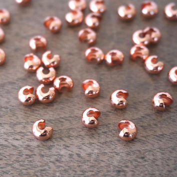 Copper Crimp Bead Covers 5mm, 40 pieces (950FD)