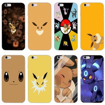 cute cartoon anime Pokemons Eevee slim silicone Soft phone case For iPhone X 8 8plus 7 7plus 6 6s plus 5 5s 5c SE 4 4s