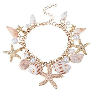 Fashion Sea Shell Starfish Faux Pearl Charm Bracelets New Golden