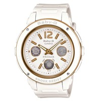 Casio BGA151-7B Women's Baby-G White Resin Rose Gold Accents World Timer Ana-Digi Watch