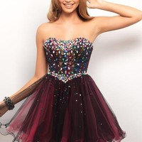 BlushProm 9535 Jeweled fit and flare! This hot dance dress rocks as stones drape your bust and flow into a dramatic full skirt.