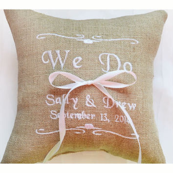 Personalised Linen Wedding ring pillow , ring pillow, ring bearer pillow with Custom embroidery, Ring Pillow , wedding pillow(R100)