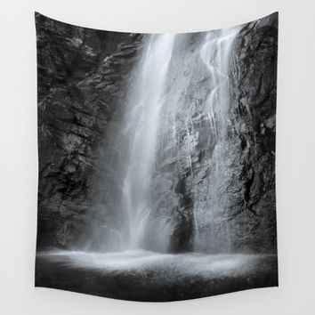 """Mountain waterfall"". Monochrome Wall Tapestry by Guido Montañés"