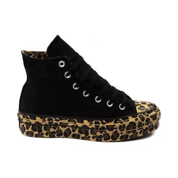 Womens Converse All Star Platform Hi Athletic Shoe, Black Cheetah Print | Journeys Shoes