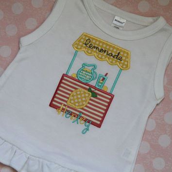 Monogrammed Lemonade Stand Summer Applique Personalized Birthday Gift Vintage Monogram Shirt Embroidered Baby Girl Gift