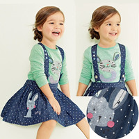 Letty baby summer Children baby girls dress clothing sets kids clothes rabbit Overalls Dresses Skirts casual denim dres