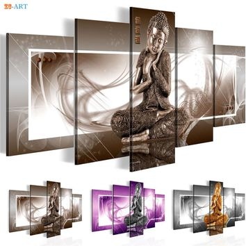 Buddha Statue Prints Wall Painting 5 Pieces Canvas Art