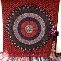 Floral Flower Tapesty , Psychedelic Star Mandala Tapestry Wall Hanging, Indian Bedspread Bohemian Room Décor, Dorm Bedding Tapestry Art