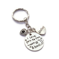 Brother Keyring, Love You To The Moon, Big Bro Gift, Birthday Gift For Brother, Moon And Back Keychain, Sibling Gifts, Male Keyring