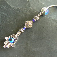 blue hamsa hand belly ring protection hamsa hand in belly dancer indie gypsy hippie morrocan boho and hipster style