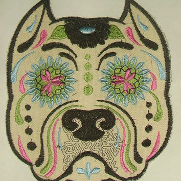 Dog Patch Tan Sugar Skull Dog Patch Pitbull Patch Dog Animal applique Pretty embroidery Kids Patch DIY