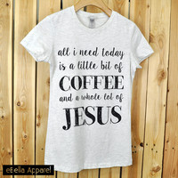 Coffee / Jesus - Women's Basic Oatmeal/Black Short Sleeve, Graphic Print Tee