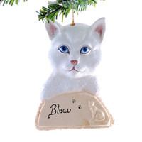 White Cat Christmas ornament - Personalized cat ornament - ornament for your cat with his or her name it.
