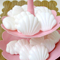 White Plastic Clam Shell Favor Boxes for Mermaid Party or Special Event - Set of 12