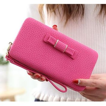 Bow Tie Leather Female Wallet Women Purse Coin Credit Card Holder Business Travel Lady Clutch Bag Organizer Pink