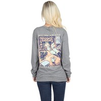 Best Seat in the House Long Sleeve Tee in Dark Heather Grey by Lauren James - FINAL SALE