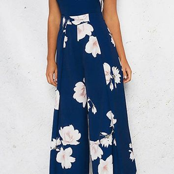 In The Loop Blue Floral Pattern Sleeveless Spaghetti Strap Square Neck Cut Out Back Wide Leg Jumpsuit