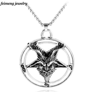 Retro Fashion Inverted Pentagram Pan God Skull Goat Head Pendant Necklace Satanism Occult Metal Vintage Silver Star Necklace